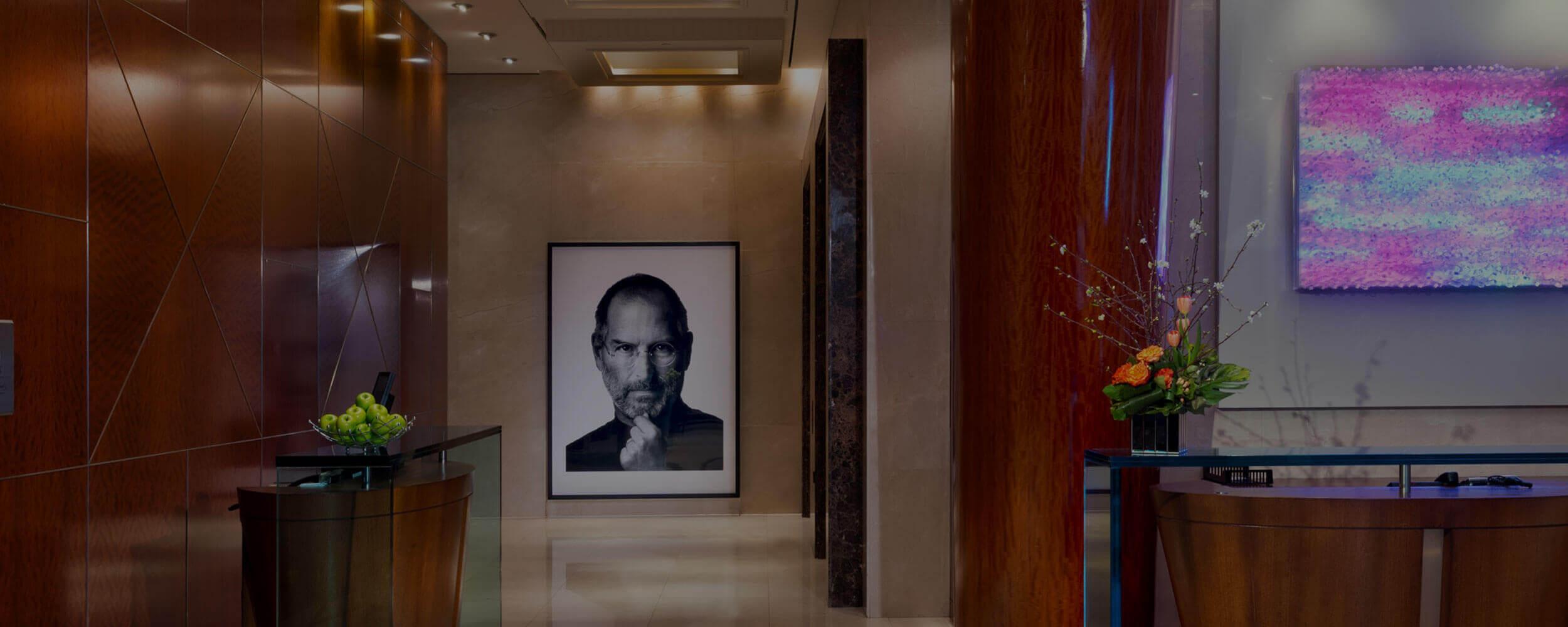 SoHo Hotel lobby with Steve Jobs artwork