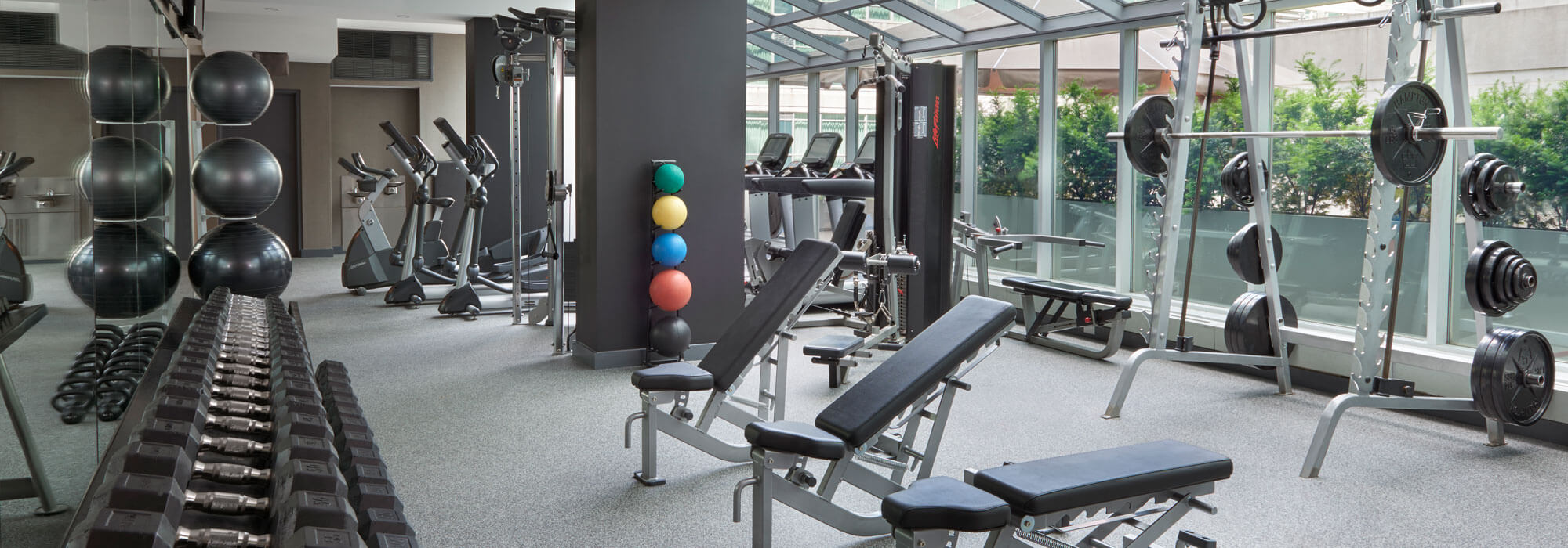 SoHo Hotel amenities renovated health club overlooking outdoor terrace