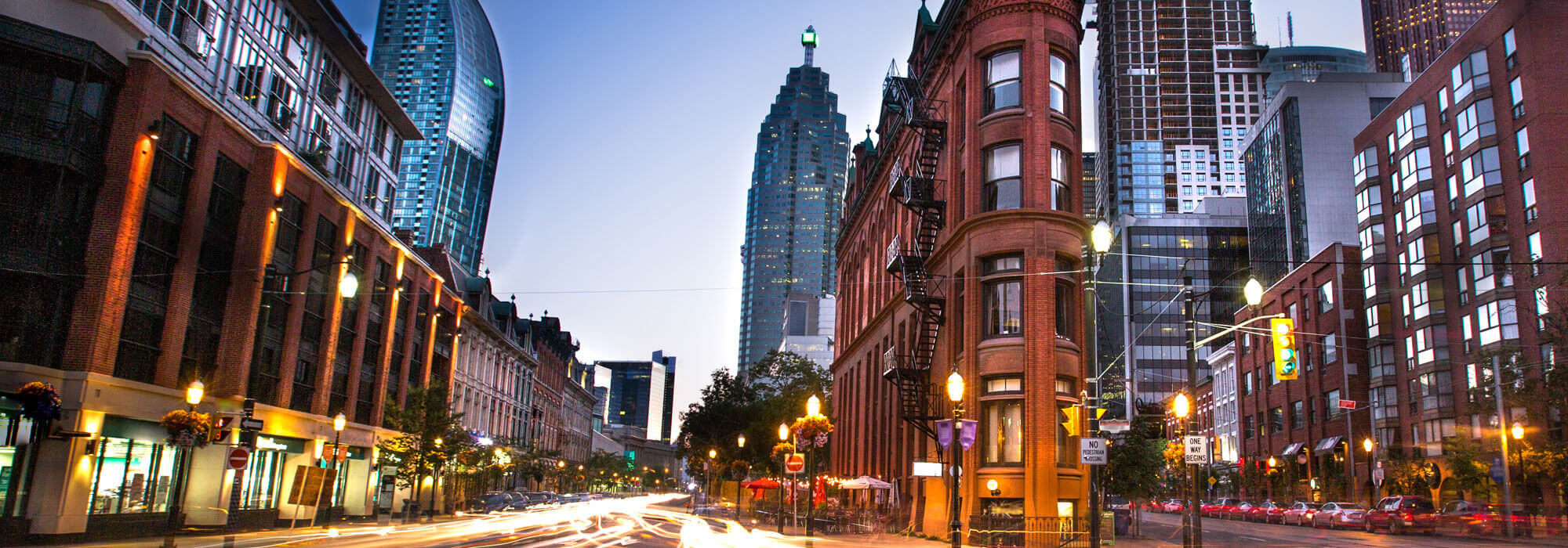 Evening Downtown Toronto Gooderham Building at Wellington St W