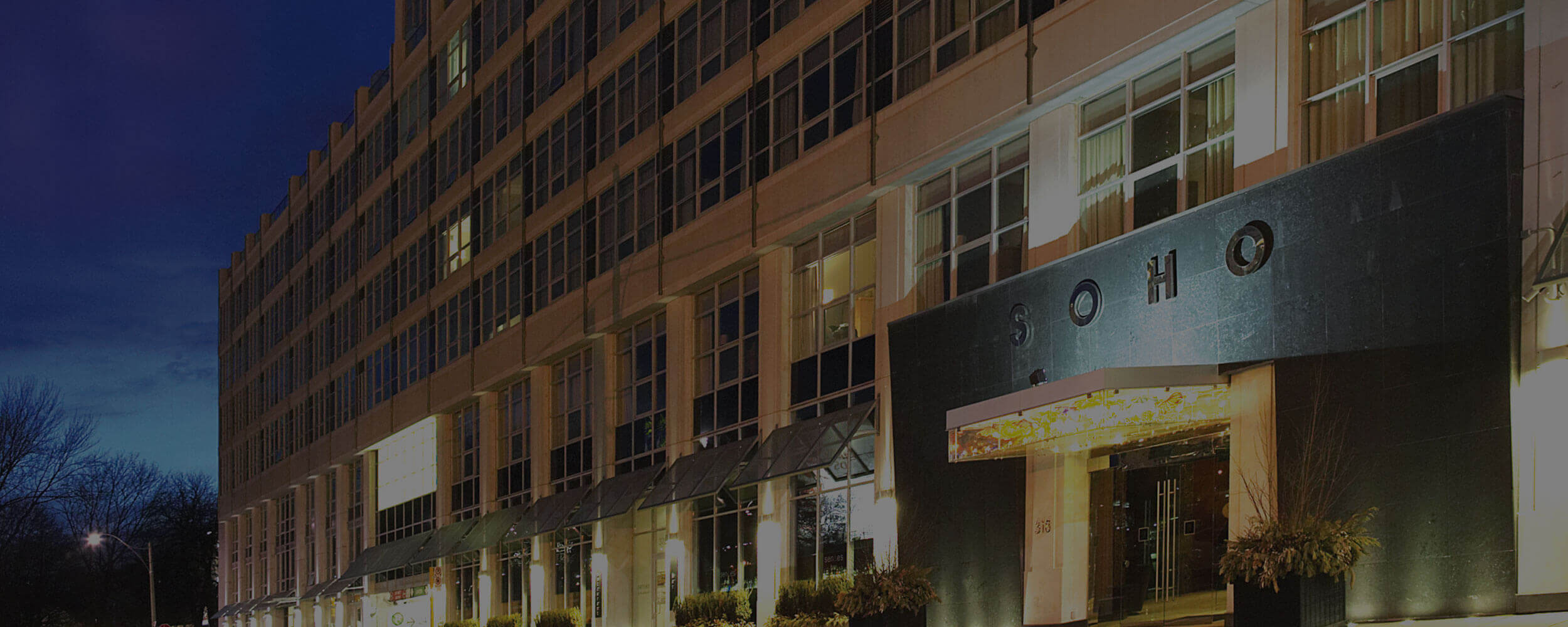 SoHo Hotel exterior front entrance at night
