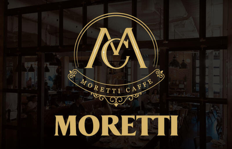 Moretti Restaurant and Caffe logos with restaurant background