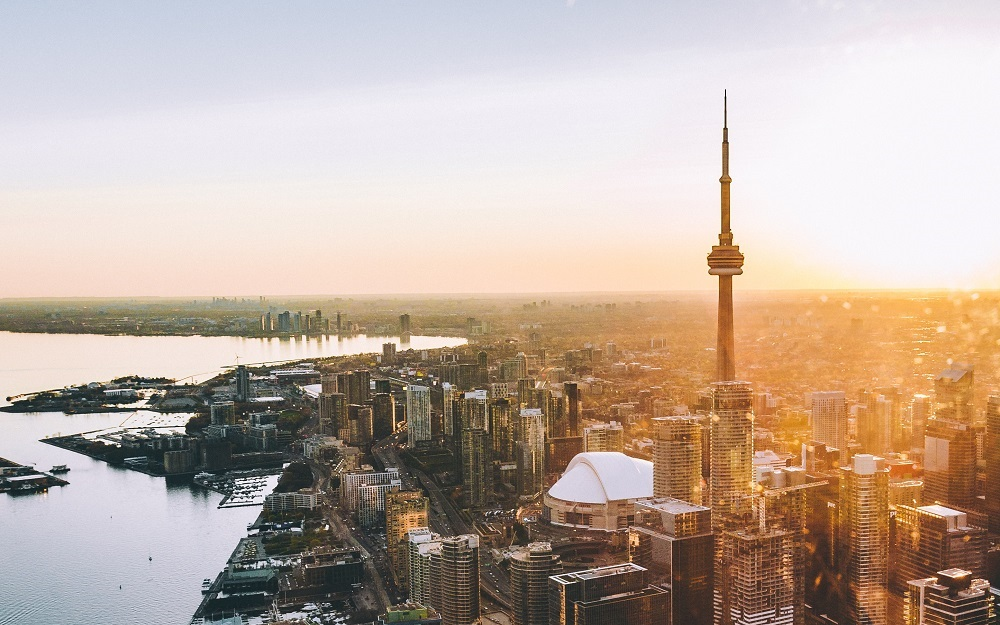 aerial view of downtown Toronto at sunset