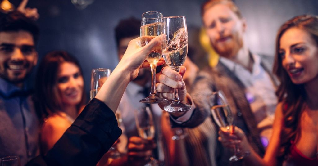 Employees cheers at staff party