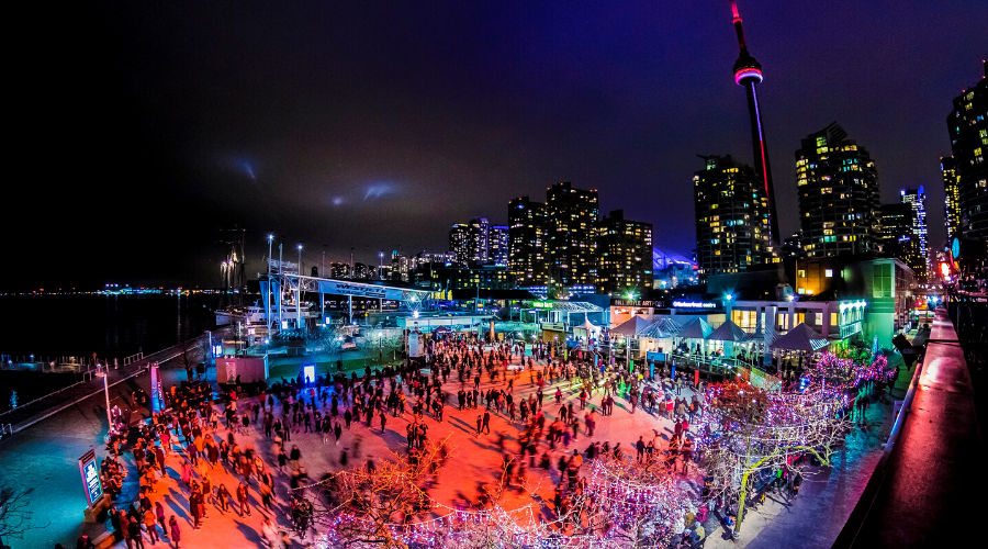 harbour view of DJ skate night in Toronto