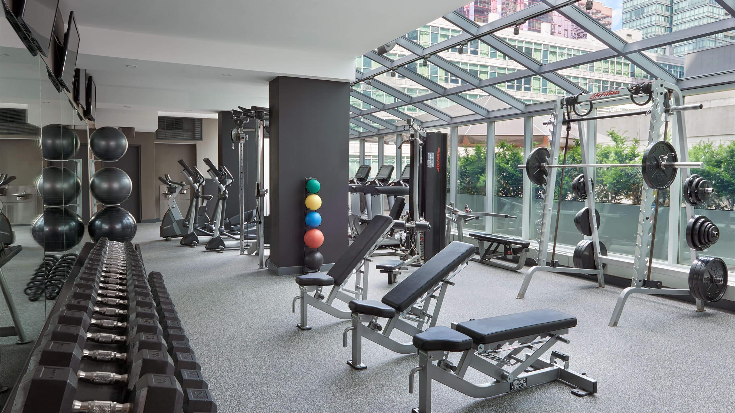 Renovated fitness club at SoHo Hotel