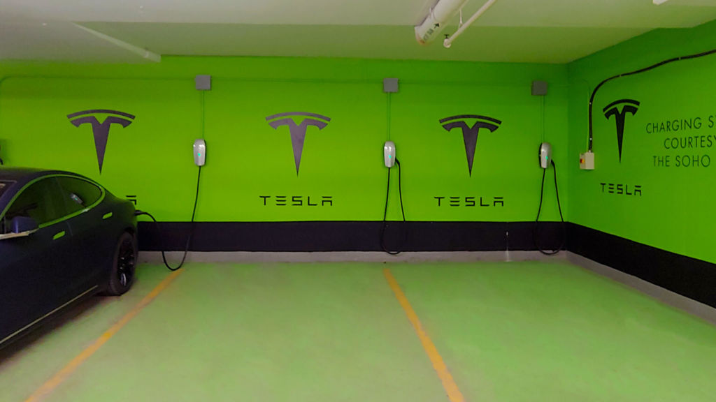 Complimentary Tesla charging stations at SoHo Hotel