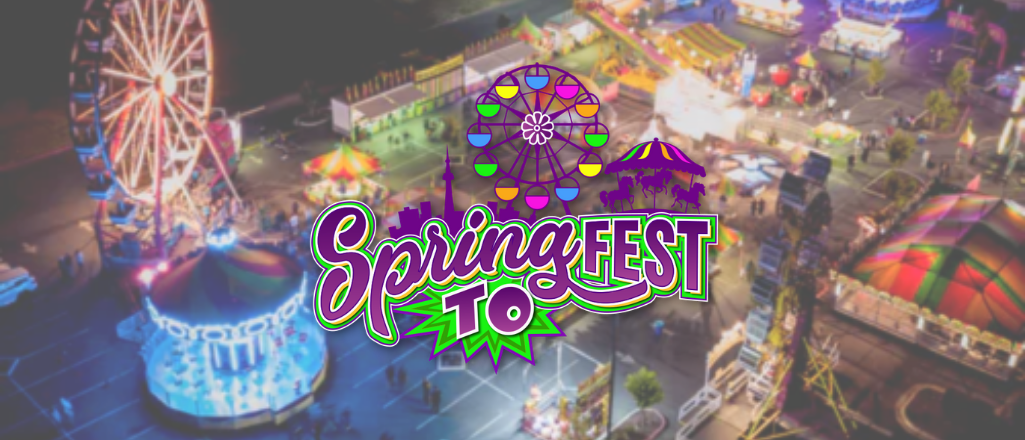 SpringFest Toronto logo on a blurry background of an amusement park