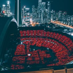 Rogers Centre in Toronto lit up at night