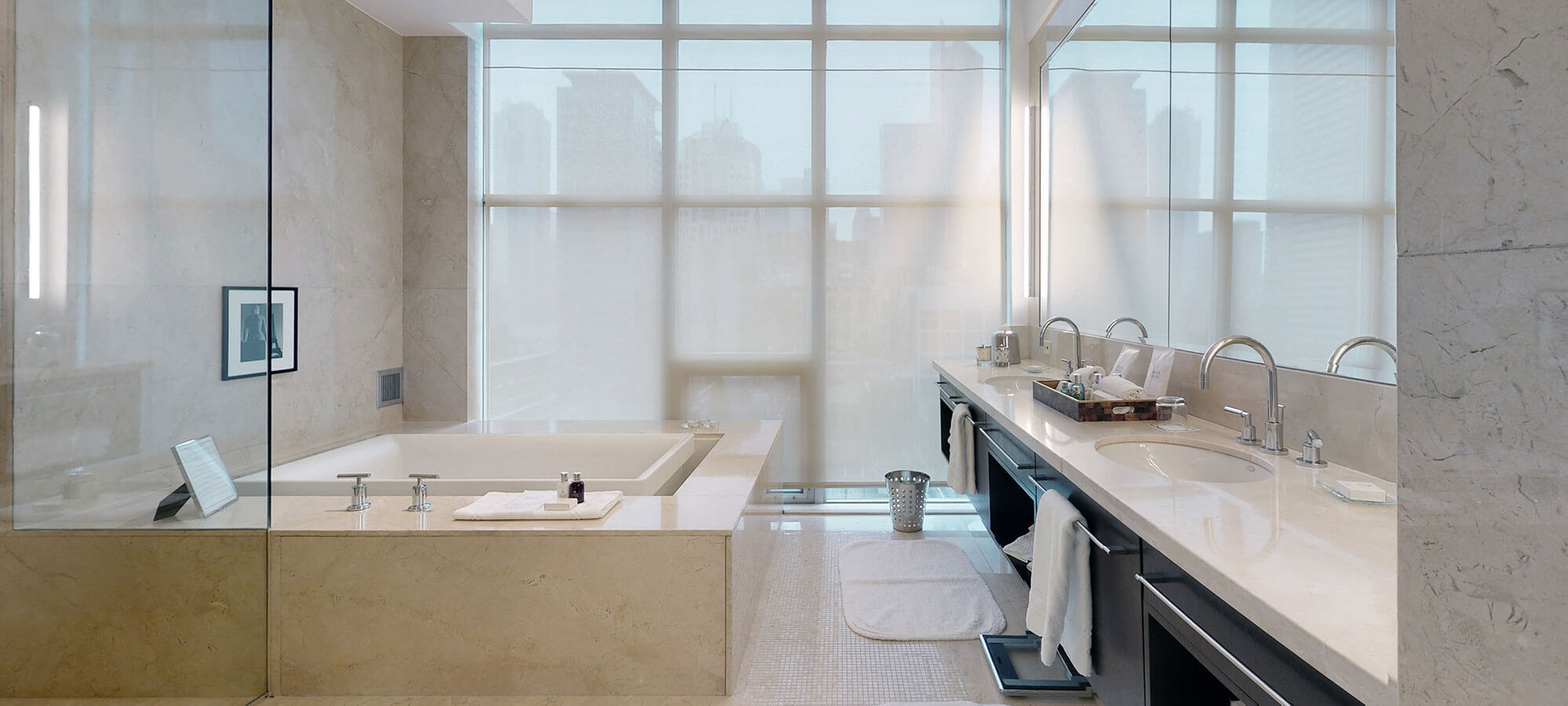 Marble bathroom at The SoHo Hotel 3-storey Penthouse