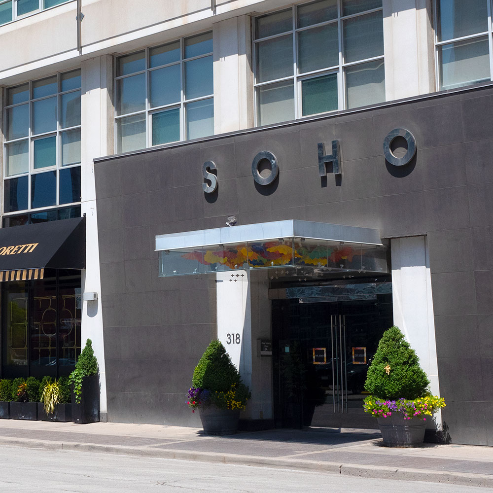 The SoHo Hotel front entrance during the day