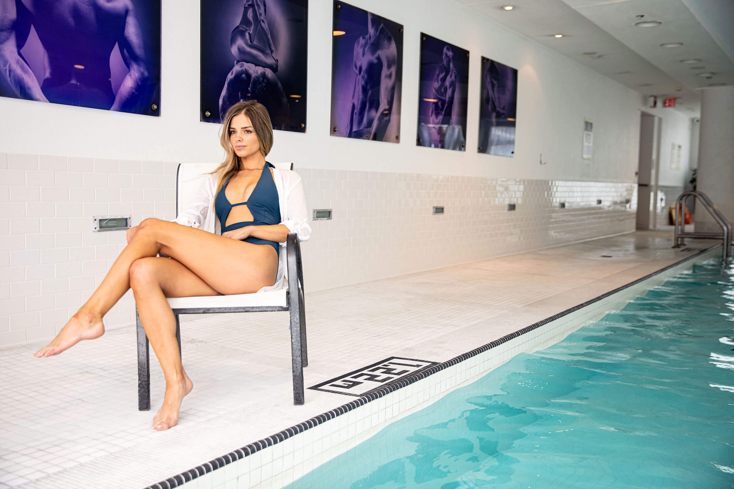 Lounging by indoor pool at The SoHo Hotel